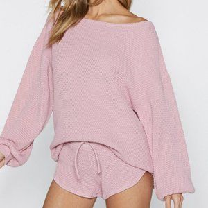 New Nasty Gal Knit Happens Nude Pink Sweater Large